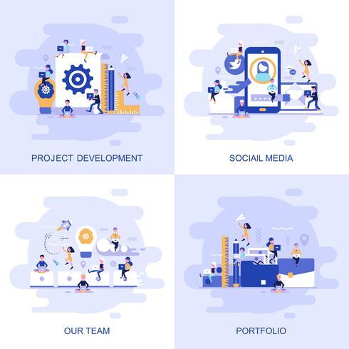 Bannière web concept plat moderne de médias sociaux, notre équipe, portefeuille et développement de projets avec caractère décoré de petites personnes.