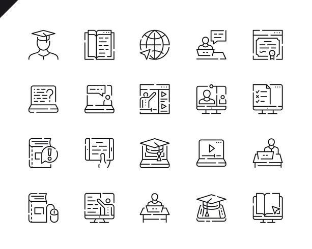 Conjunto simple de iconos de línea de educación en línea para aplicaciones web y móviles. vector