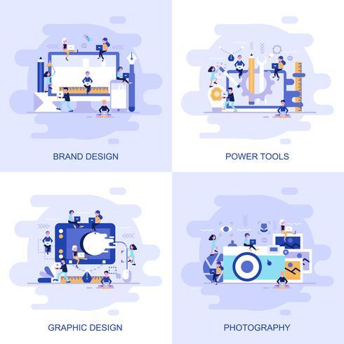 Moderne flache Konzeptnetzfahne von Fotografie, von Grafikdesign, von Elektrowerkzeugen und von Markendesign mit verziertem kleinem Leutecharakter.