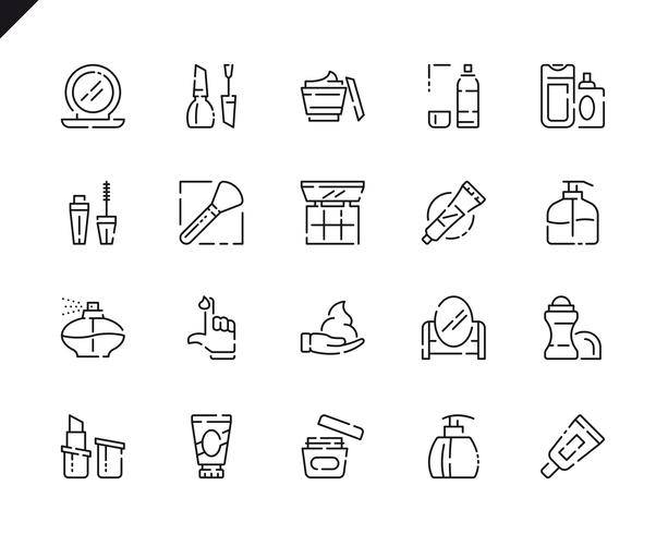 Icônes de ligne de produits cosmétiques simples pour sites Web et applications mobiles.