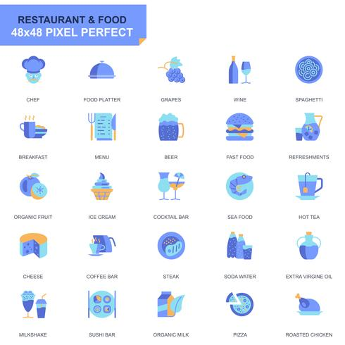 Simple Set Restaurant and Food Flat Icons for Website and Mobile Apps