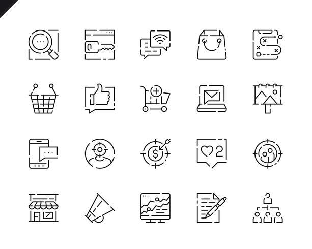 Einfache Set Marketing Line Icons für Website und Mobile Apps.