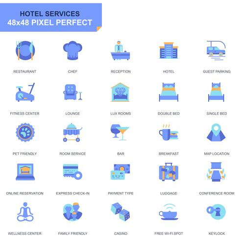 Simple Set Hotel Services Flat Icons para sitio web y aplicaciones móviles