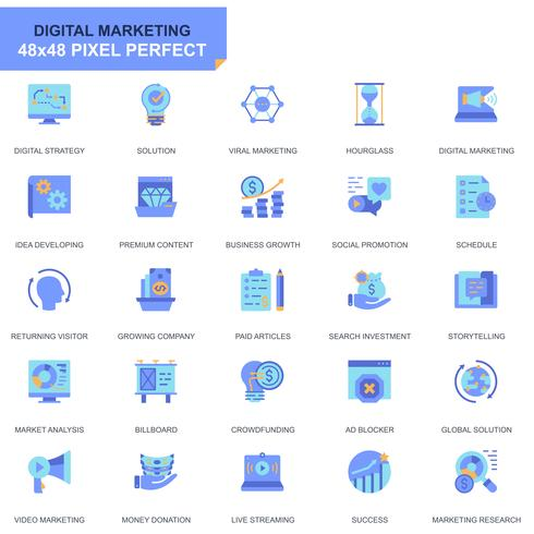 Sencillo conjunto de iconos comerciales y de marketing para sitios web y aplicaciones móviles