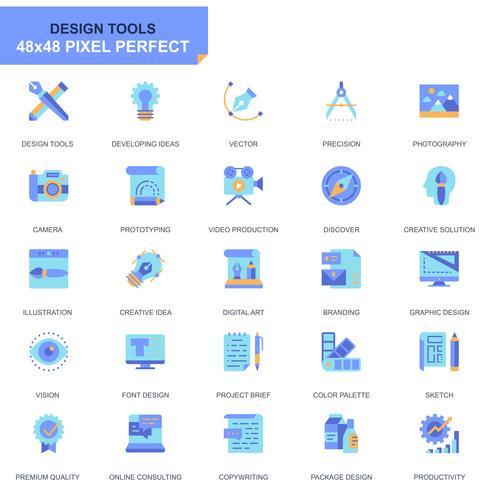 Einfache Set-Design-Tools Flache Icons für Website und Mobile Apps