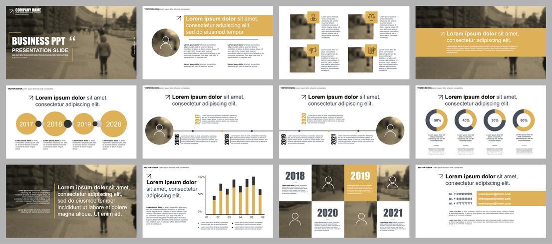 Gouden bedrijfspresentatie schuift sjablonen van infographic elementen.