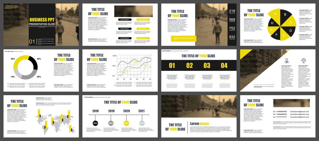 De gele en zwarte bedrijfspresentatie schuift sjablonen van infographic elementen.