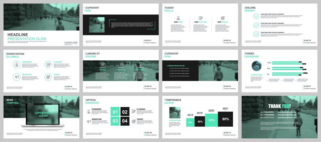 Apresentação de negócios verde e preto slides modelos de elementos de infográfico.