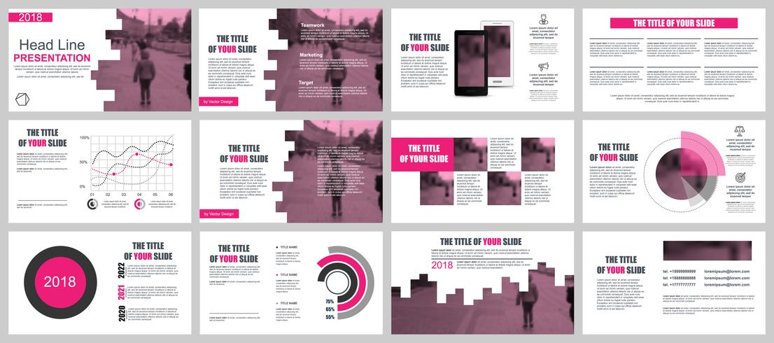 Modelli di presentazione di presentazioni aziendali rosa