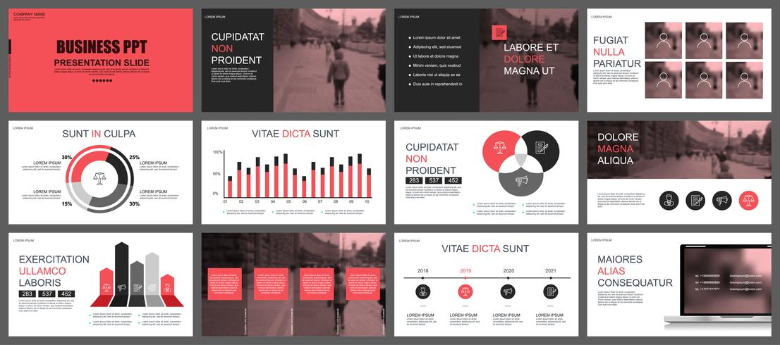 red and black business presentation slides templates download free