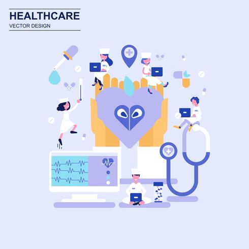 Médecine et soins de santé concept design plat style bleu avec caractère décoré de petit peuple.