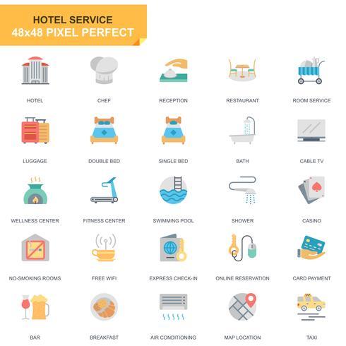 Einfache Satz-Hotel-Service-flache Ikonen für Website und bewegliche Apps