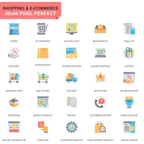 Eenvoudige set Winkelen en e-commerce plat pictogrammen voor website en mobiele apps