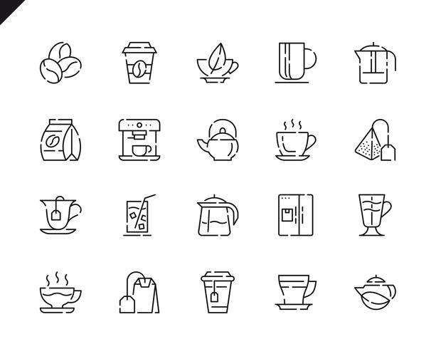 Einfache Set Kaffee und Tee Linie Icons für Website und Mobile Apps.
