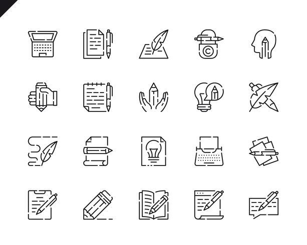 Icônes de ligne de jeu de rédaction simple pour le site Web et les applications mobiles.