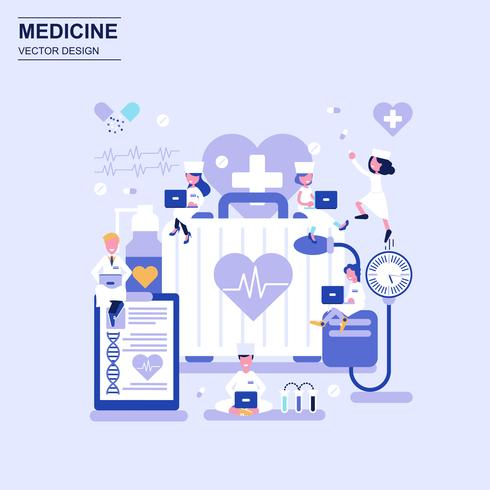 Medicina y cuidado de la salud concepto de diseño plano estilo azul con carácter de personas pequeñas decoradas.
