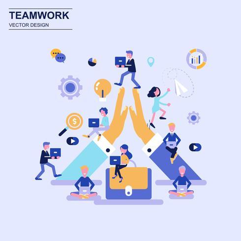 Teamwork en zakelijke platte ontwerpconcept blauwe stijl met ingerichte kleine mensen teken.