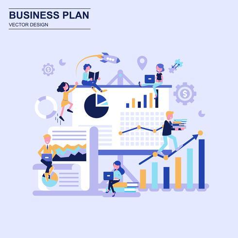 Estilo azul liso do conceito de projeto do plano de negócios com caráter pequeno decorado dos povos.