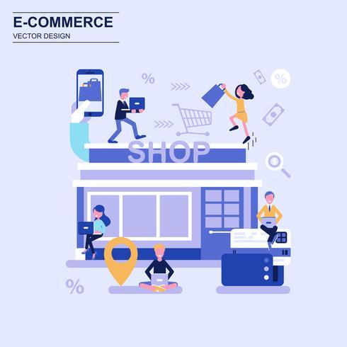 E-commerce y compras concepto de diseño plano estilo azul con carácter de personas pequeñas decoradas.