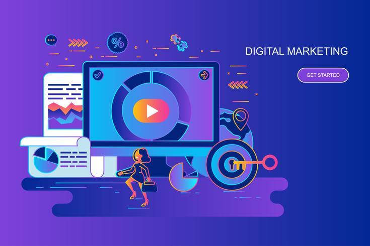 Moderne banner van het het conceptenweb van de gradiënt vlakke lijn van digitale marketing met verfraaid klein mensenkarakter. Bestemmingspaginasjabloon.