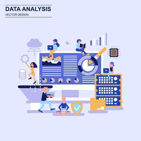 Big data-analyse platte ontwerpconcept blauwe stijl met ingerichte kleine mensen teken.