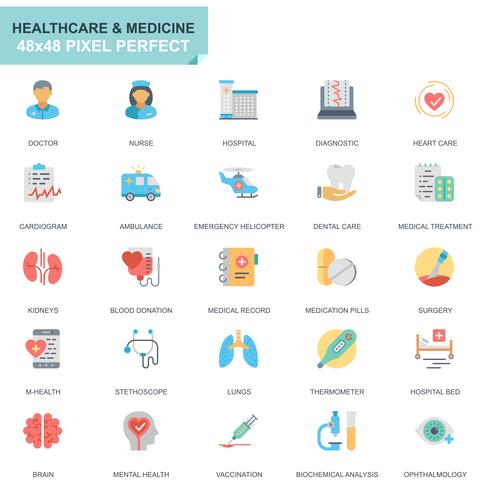 Simple Set Healthcare and Medical Flat Icons