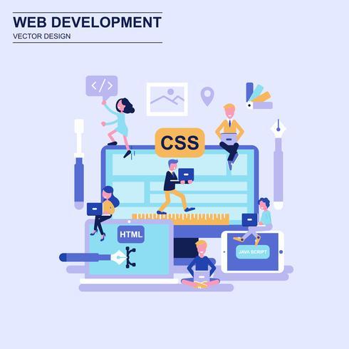 Webontwikkeling platte ontwerpconcept blauwe stijl met ingerichte kleine mensen teken.