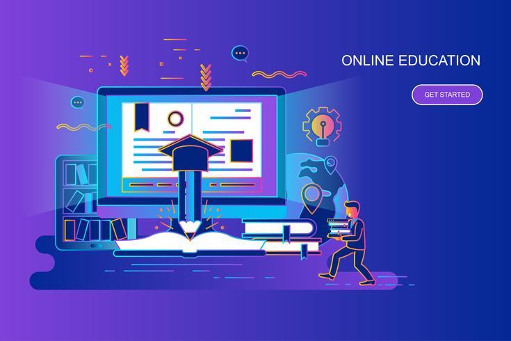Concepto de línea plana degradado moderno banner de educación en línea con carácter de personas pequeñas decoradas. Plantilla de página de aterrizaje.