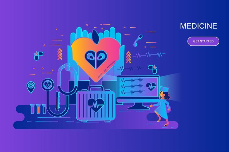 Moderne banner van het het conceptenweb van de gradiënt vlakke lijn van geneeskunde en gezondheidszorg met verfraaid klein mensenkarakter. Bestemmingspaginasjabloon.