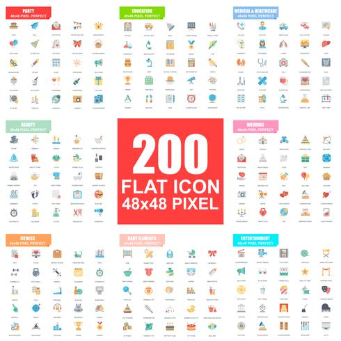 Conjunto simple de iconos planos vectoriales. Paquete de pictogramas planos. 48x48 Pixel Perfect.