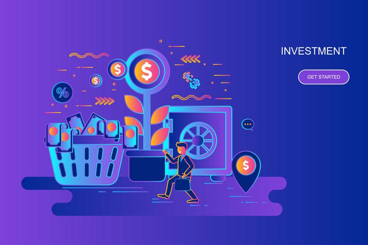 Moderne banner van het het conceptenweb van de gradiënt vlakke lijn van investering en de groeieconomie met verfraaid klein mensenkarakter. Bestemmingspaginasjabloon.