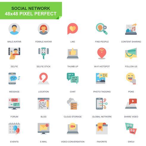 Einfache Set Social Media und Netzwerk flache Icons für Website und Mobile Apps