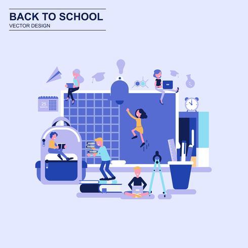 Tillbaka till skolan planlösning koncept blå stil med dekorerade små människor karaktär.