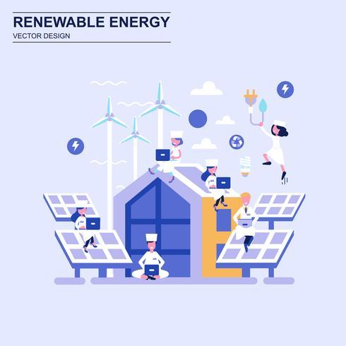 Estilo azul do conceito de projeto liso da energia renovável com caráter pequeno decorado dos povos.