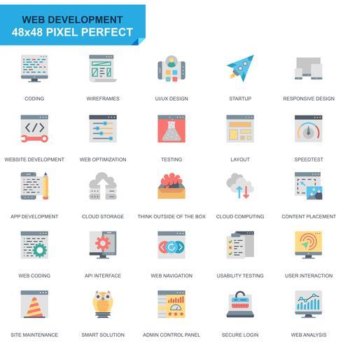 Simple Set Web Disign and Development Flat Icons voor website en mobiele apps