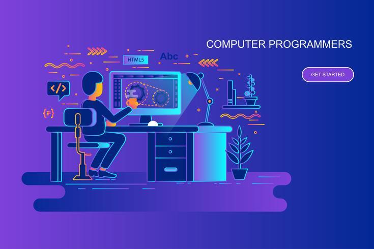 Moderne banner van het het conceptenweb van de gradiënt vlakke lijn van computerprogrammeurs met verfraaid klein mensenkarakter. Bestemmingspaginasjabloon.