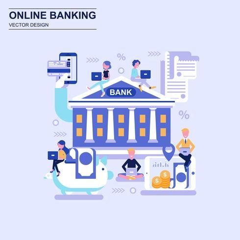 Services bancaires en ligne style concept bleu avec caractère décoré de petites personnes.