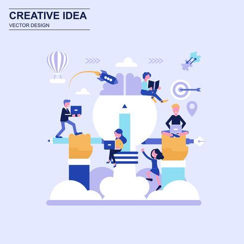 Estilo azul do conceito de projeto liso da ideia criativa com caráter pequeno decorado dos povos.