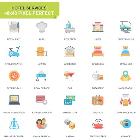Simple Set Hotel Services Platte pictogrammen voor website en mobiele apps