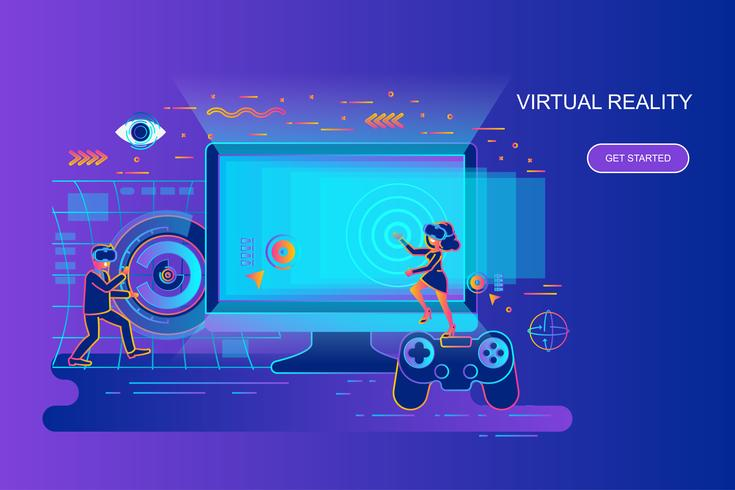 Konzept-Netzfahne der modernen Steigung flache der virtuellen Realität mit verziertem Zeichen der kleinen Leute. Zielseitenvorlage