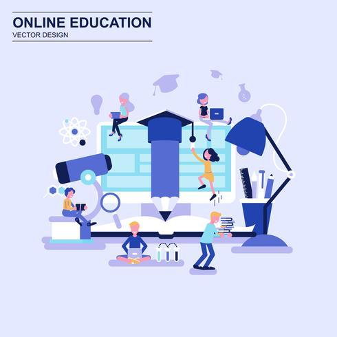 Online het concepten blauwe stijl van het onderwijs vlakke ontwerp met verfraaid klein mensenkarakter.