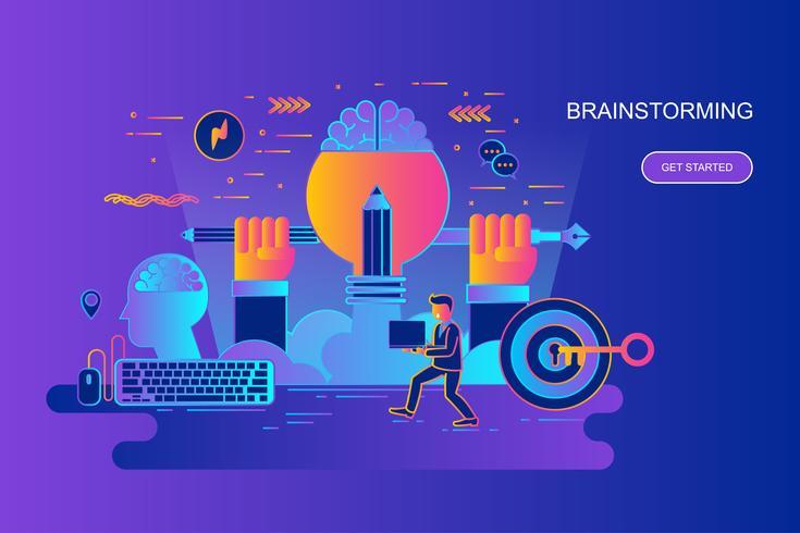 Moderne banner van het het conceptenweb van de gradiënt vlakke lijn van brainstorming met verfraaid klein mensenkarakter. Bestemmingspaginasjabloon.