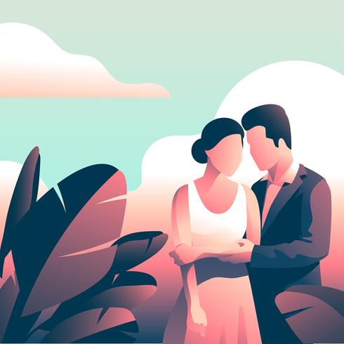 Couple In Formalwear  Tropical Leaves vector