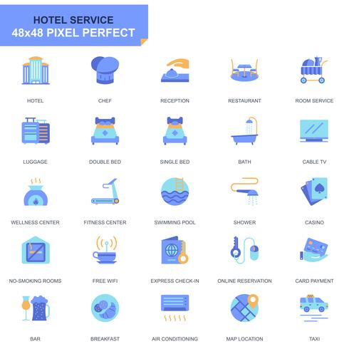 Simple Set Hotel Services Flat Icons vector