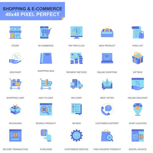 Simple Set E-Commerce and Shopping Flat Icons