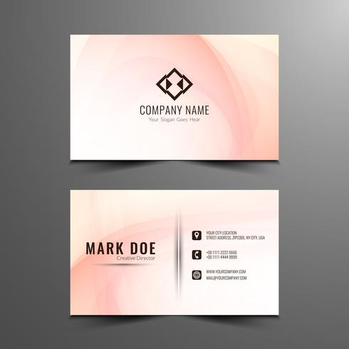 Abstract pink wavy modern business card template  vector