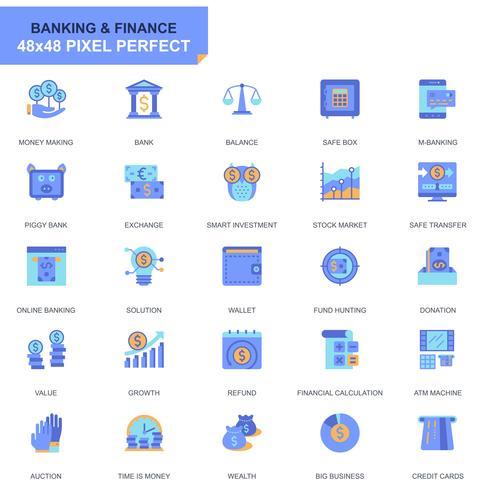 Eenvoudige set Bank- en Financiewezen Vlakke Pictogrammen voor Website en Mobiele Apps
