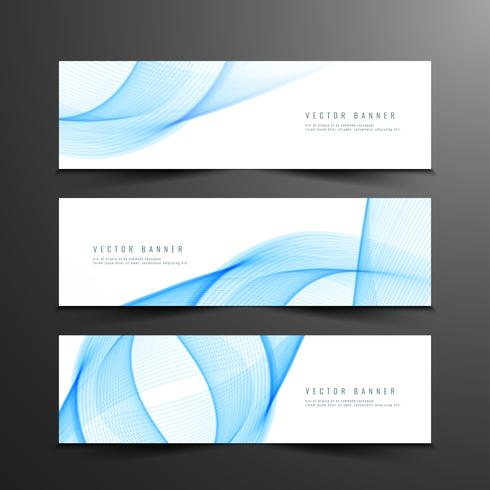 Abstract wavy banners set vector