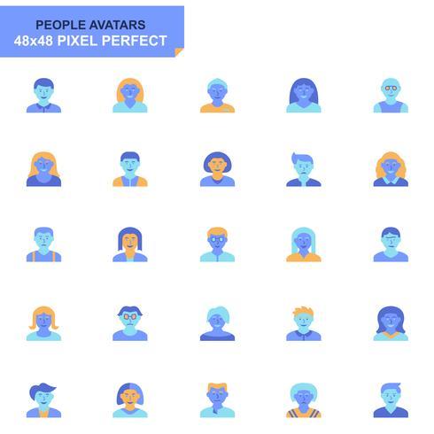 Conjunto simples de pessoas ícones planas de Avatar para o site e aplicativos móveis