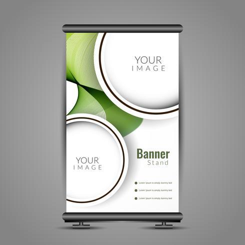 Abstrakt färgrik rulle upp banner mall design